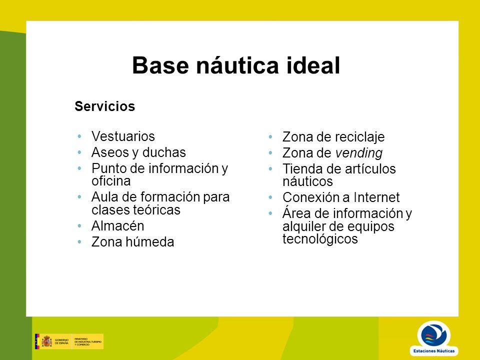Base náutica ideal Servicios Vestuarios Zona de reciclaje