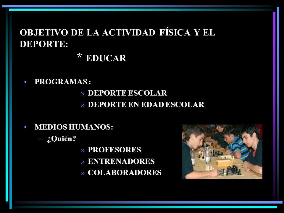 OBJETIVO DE LA ACTIVIDAD FÍSICA Y EL DEPORTE: * EDUCAR