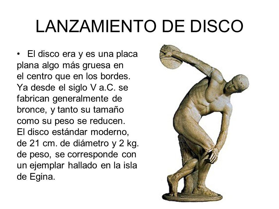LANZAMIENTO DE DISCO El disco era y es una placa