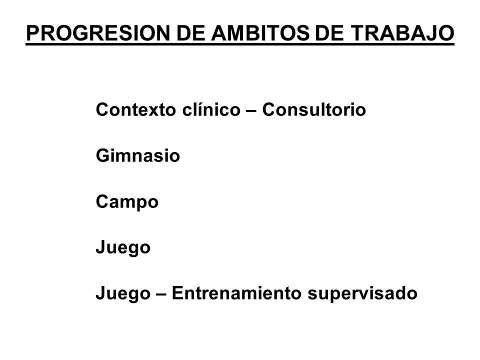PROGRESION DE AMBITOS DE TRABAJO