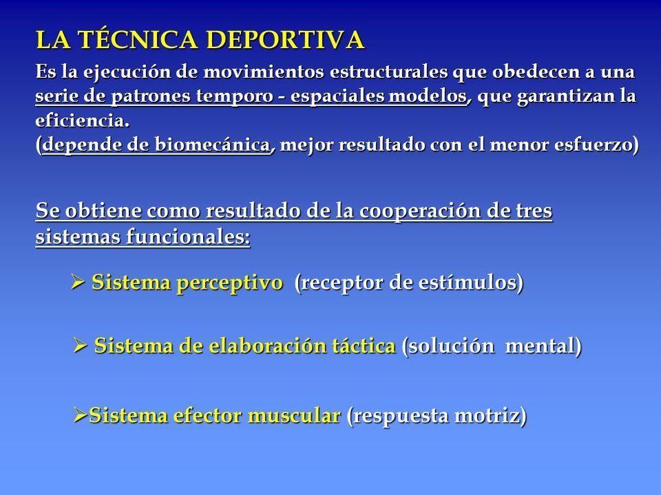 LA TÉCNICA DEPORTIVA Es la ejecución de movimientos estructurales que obedecen a una.