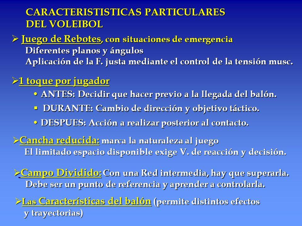 CARACTERISTISTICAS PARTICULARES DEL VOLEIBOL