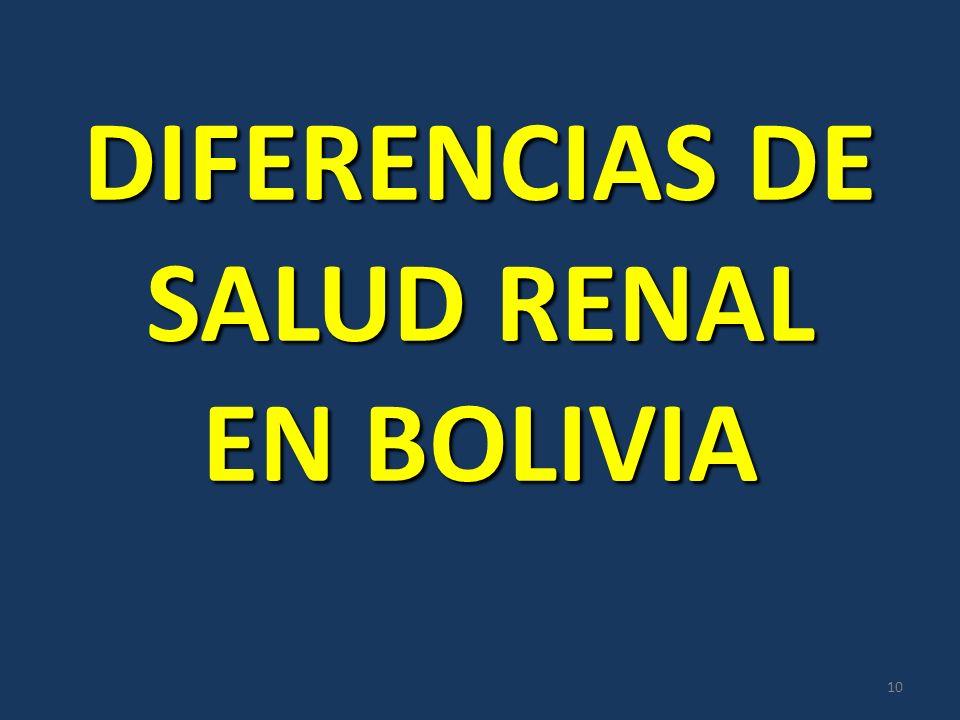 DIFERENCIAS DE SALUD RENAL EN BOLIVIA