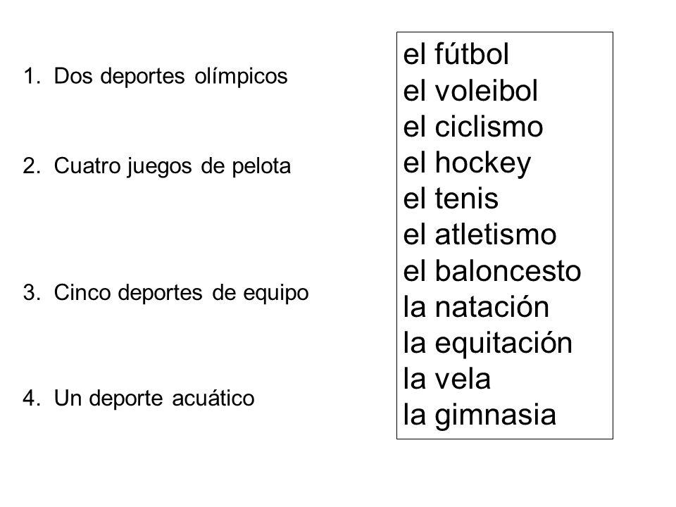 el fútbol el voleibol el ciclismo el hockey el tenis el atletismo el baloncesto la natación la equitación la vela la gimnasia