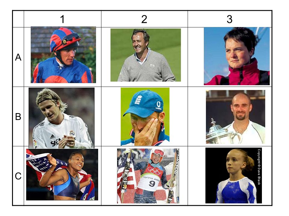 1 2 3 A B C Students have to identify the sport (and personality too if they can)