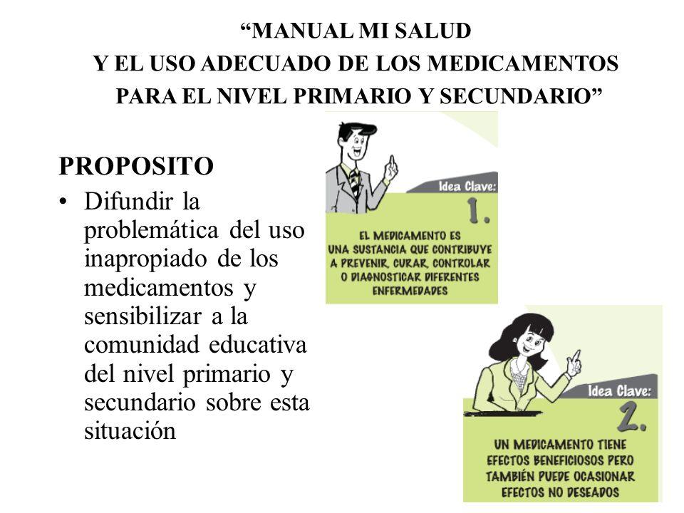 MANUAL MI SALUD Y EL USO ADECUADO DE LOS MEDICAMENTOS. PARA EL NIVEL PRIMARIO Y SECUNDARIO PROPOSITO.