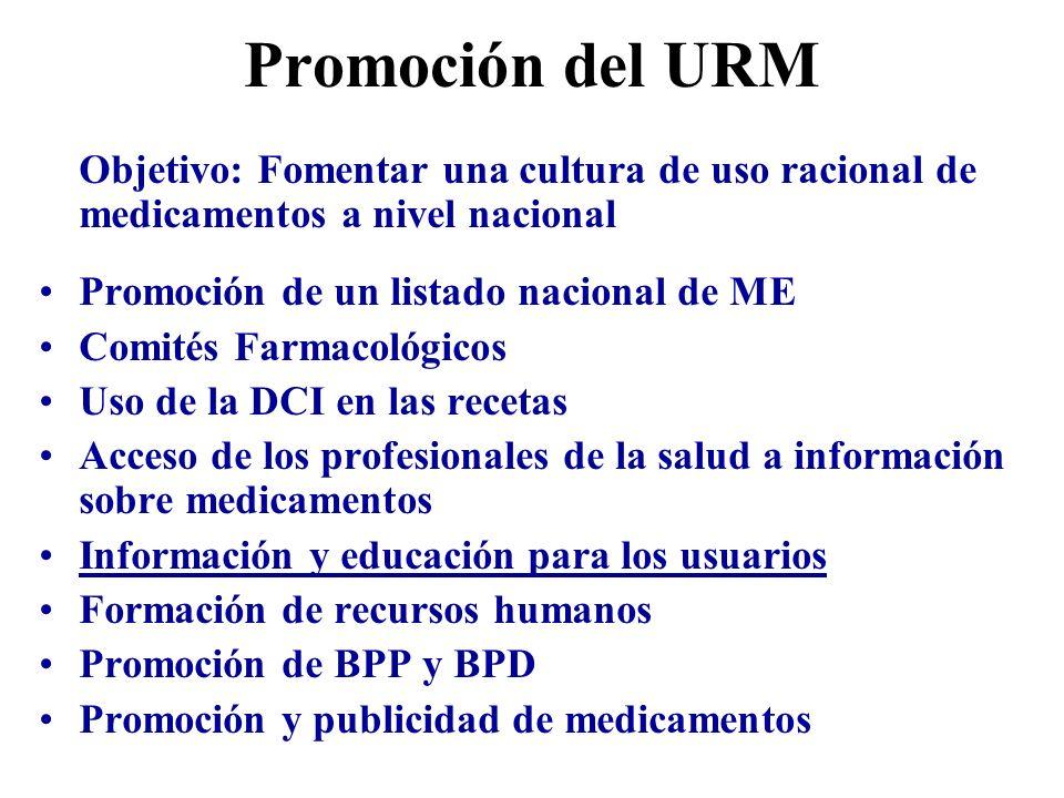 Promoción del URM Objetivo: Fomentar una cultura de uso racional de medicamentos a nivel nacional. Promoción de un listado nacional de ME.