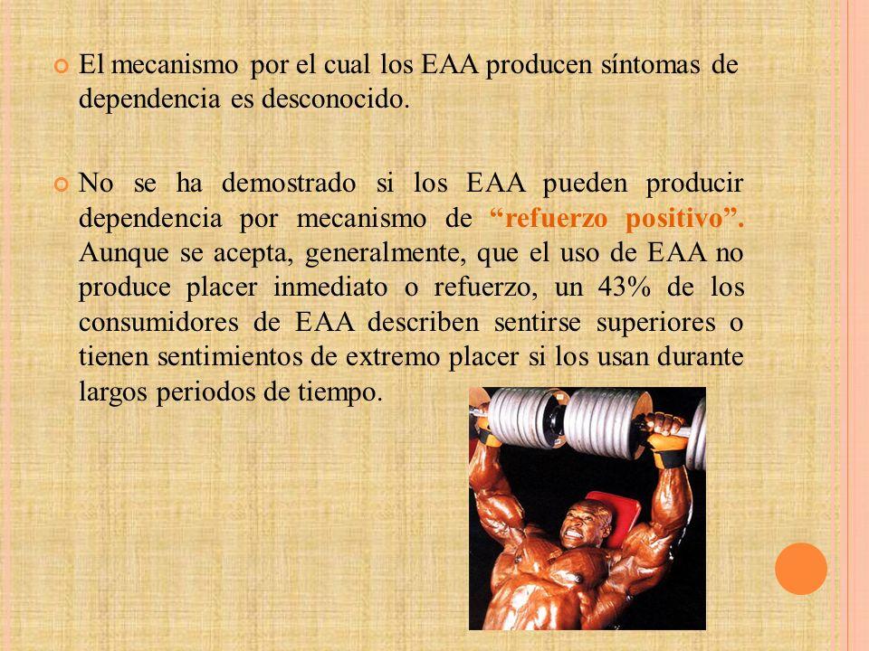 El mecanismo por el cual los EAA producen síntomas de dependencia es desconocido.
