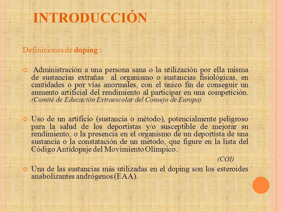 INTRODUCCIÓN Definiciones de doping :