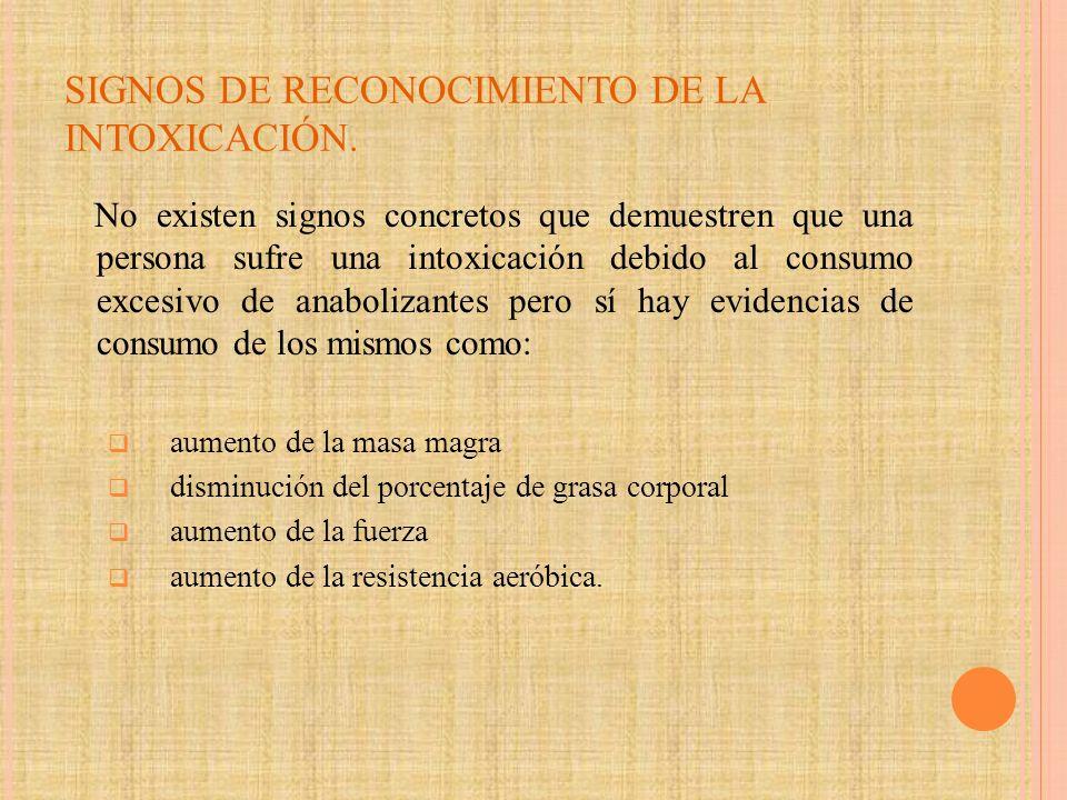 SIGNOS DE RECONOCIMIENTO DE LA INTOXICACIÓN.