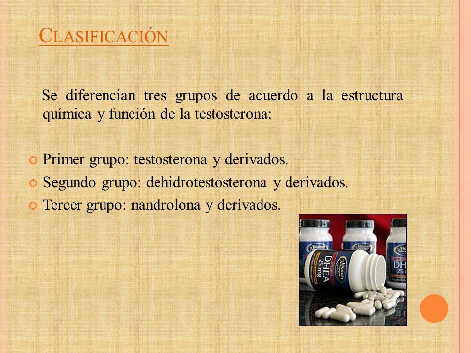 Clasificación Se diferencian tres grupos de acuerdo a la estructura química y función de la testosterona: