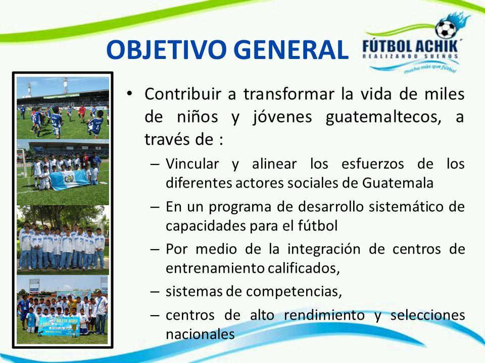 OBJETIVO GENERAL Contribuir a transformar la vida de miles de niños y jóvenes guatemaltecos, a través de :