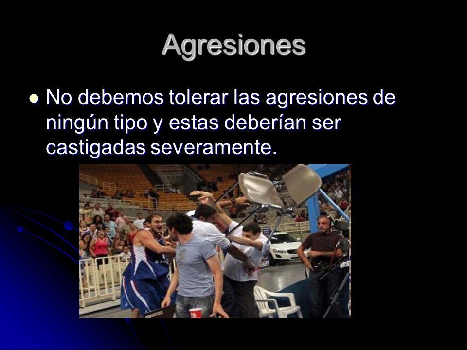 Agresiones No debemos tolerar las agresiones de ningún tipo y estas deberían ser castigadas severamente.