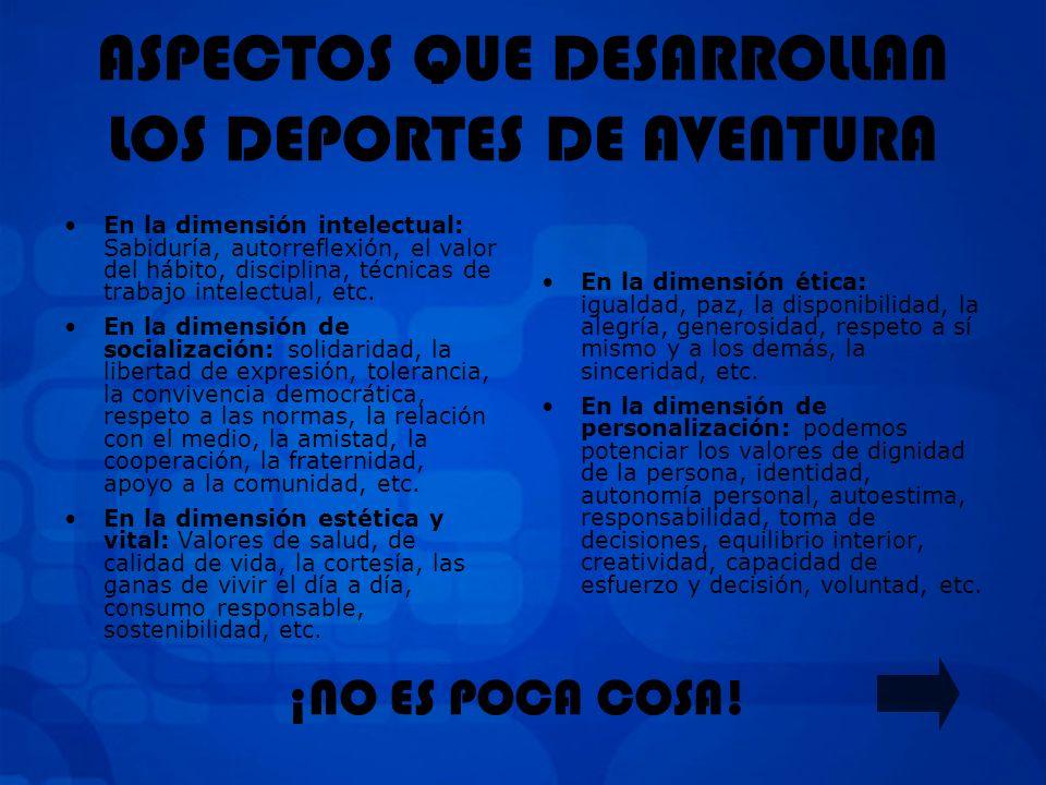 ASPECTOS QUE DESARROLLAN LOS DEPORTES DE AVENTURA