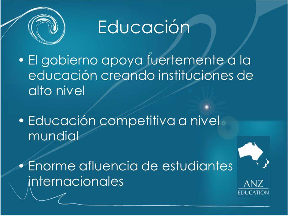 Educación El gobierno apoya fuertemente a la educación creando instituciones de alto nivel. Educación competitiva a nivel mundial.