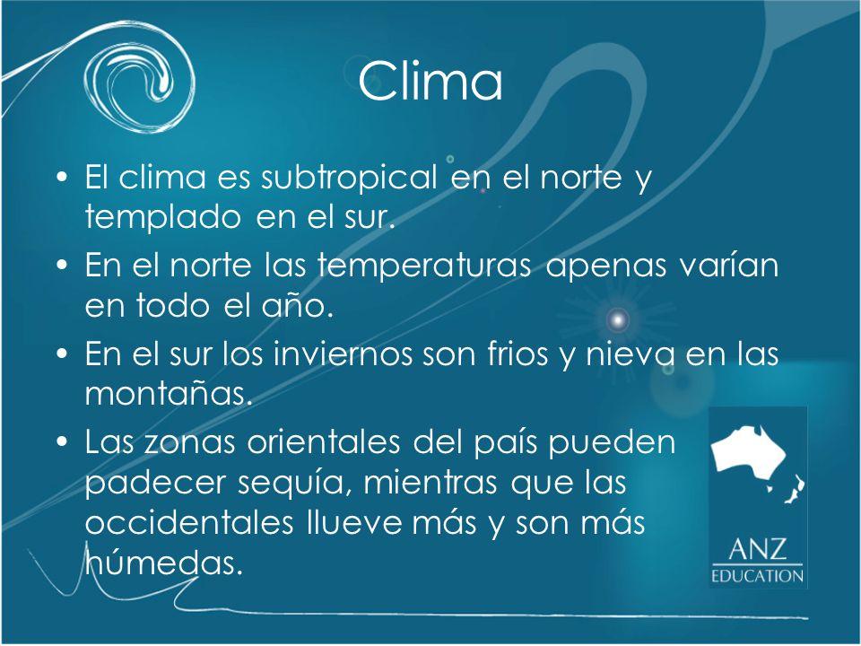 Clima El clima es subtropical en el norte y templado en el sur.