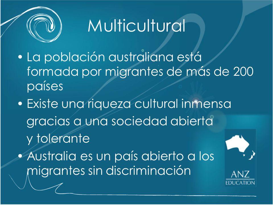 Multicultural La población australiana está formada por migrantes de más de 200 países. Existe una riqueza cultural inmensa.