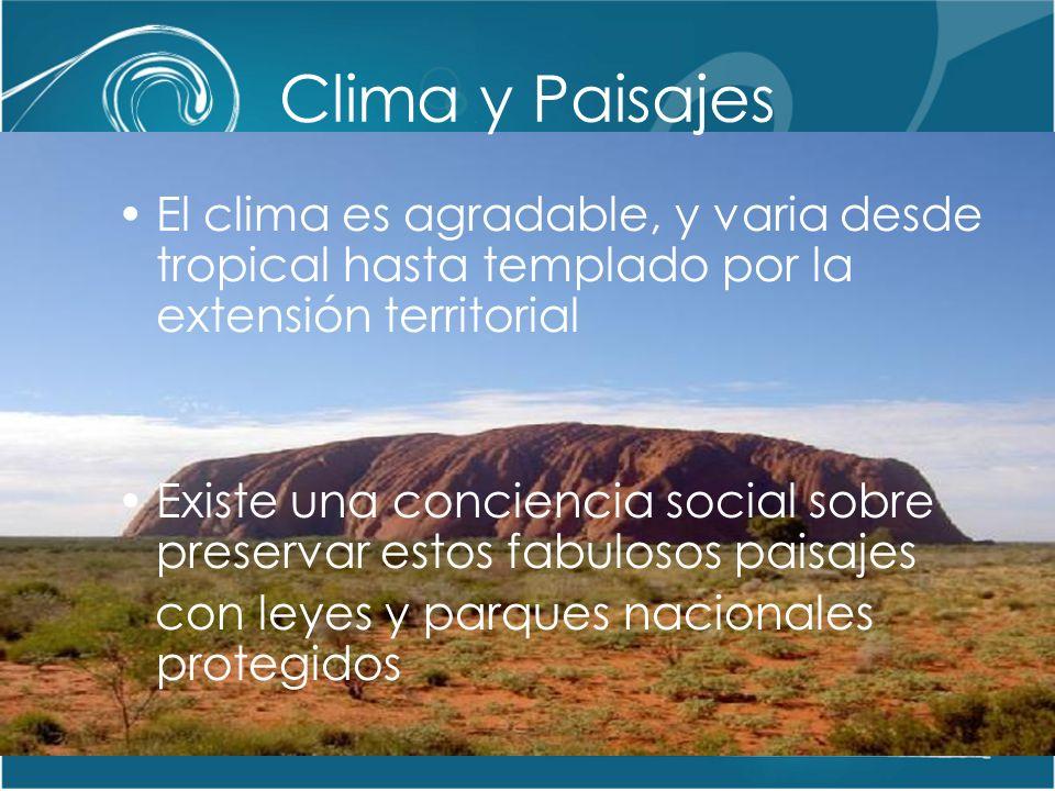 Clima y Paisajes El clima es agradable, y varia desde tropical hasta templado por la extensión territorial.