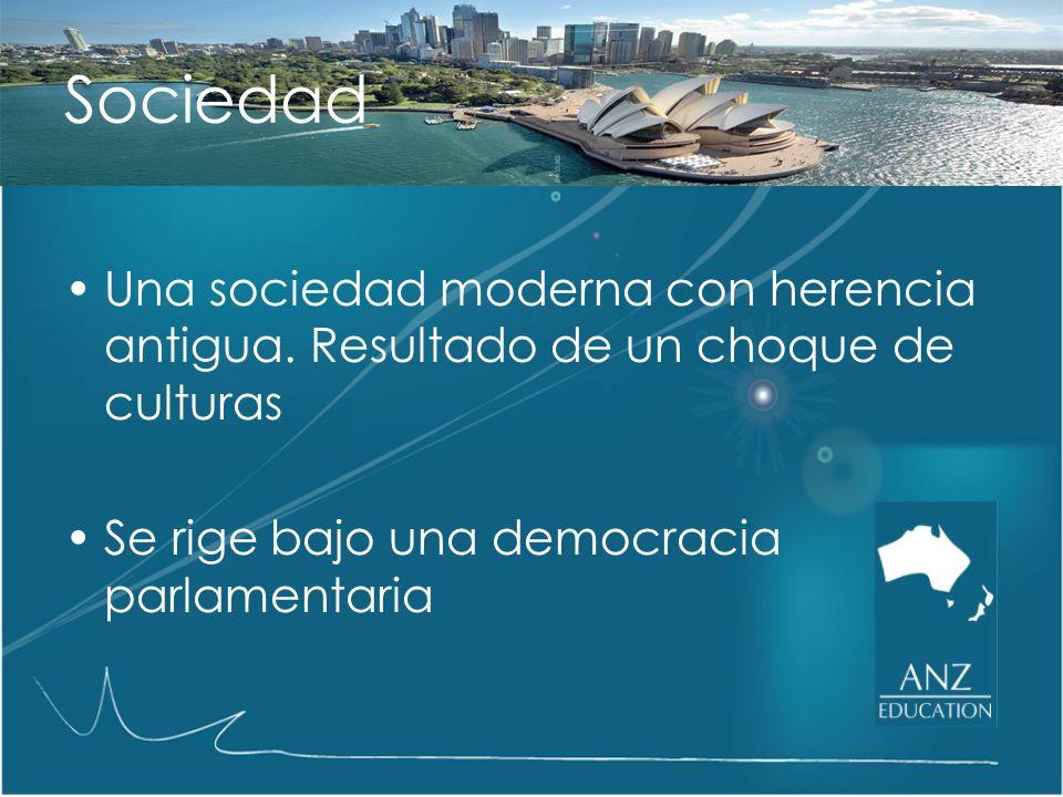 Sociedad Una sociedad moderna con herencia antigua. Resultado de un choque de culturas. Se rige bajo una democracia parlamentaria.