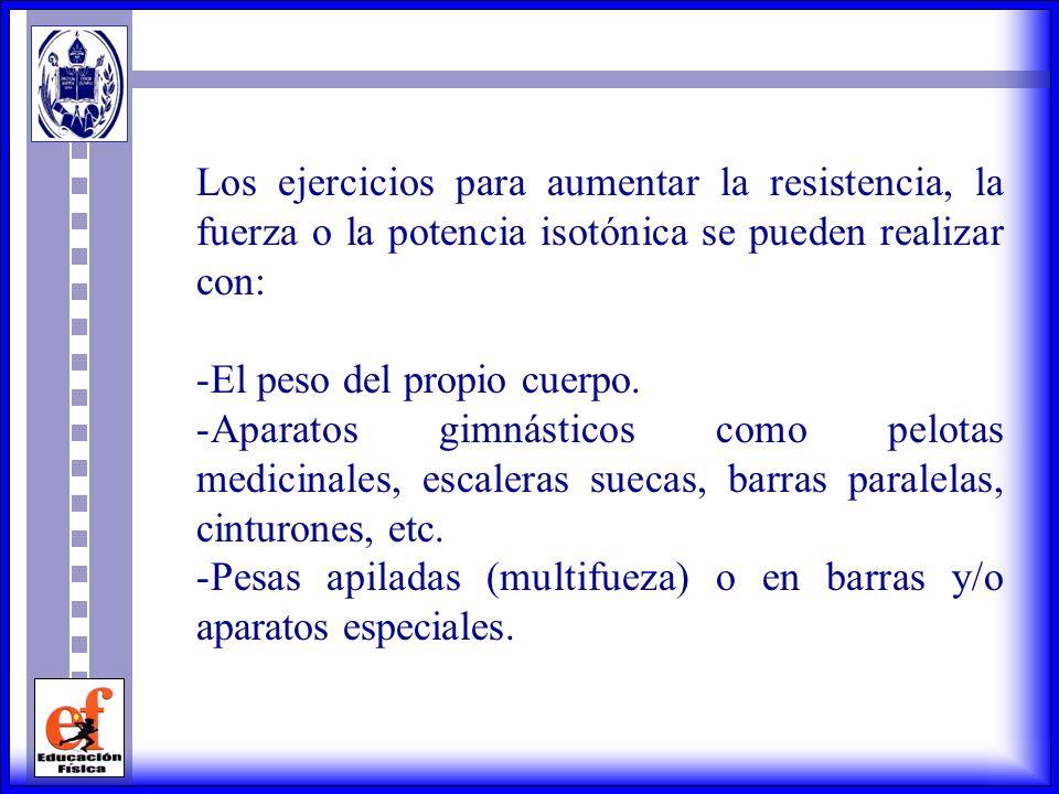 Los ejercicios para aumentar la resistencia, la fuerza o la potencia isotónica se pueden realizar con: