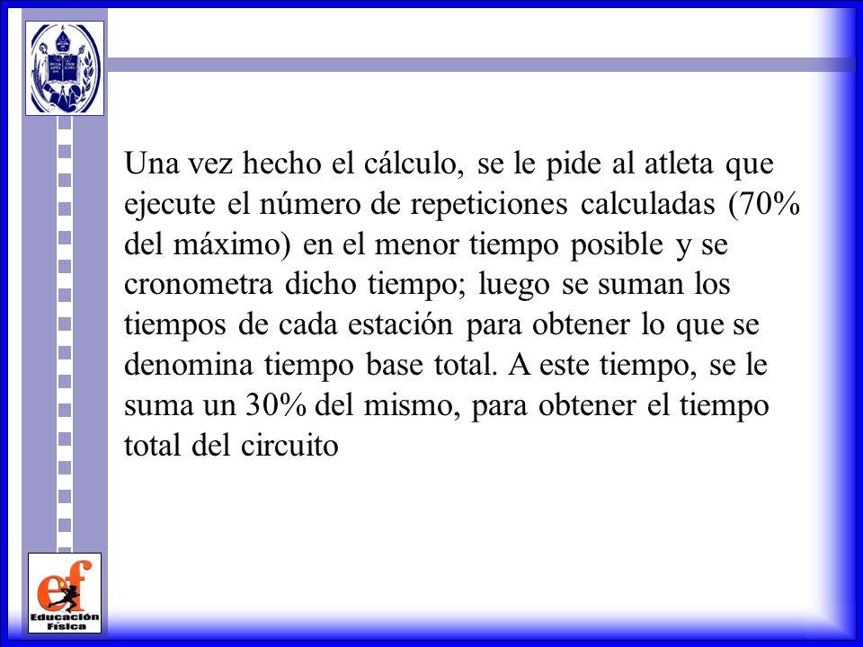 Una vez hecho el cálculo, se le pide al atleta que ejecute el número de repeticiones calculadas (70% del máximo) en el menor tiempo posible y se cronometra dicho tiempo; luego se suman los tiempos de cada estación para obtener lo que se denomina tiempo base total.