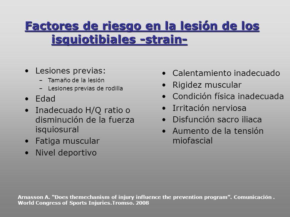 Factores de riesgo en la lesión de los isquiotibiales -strain-