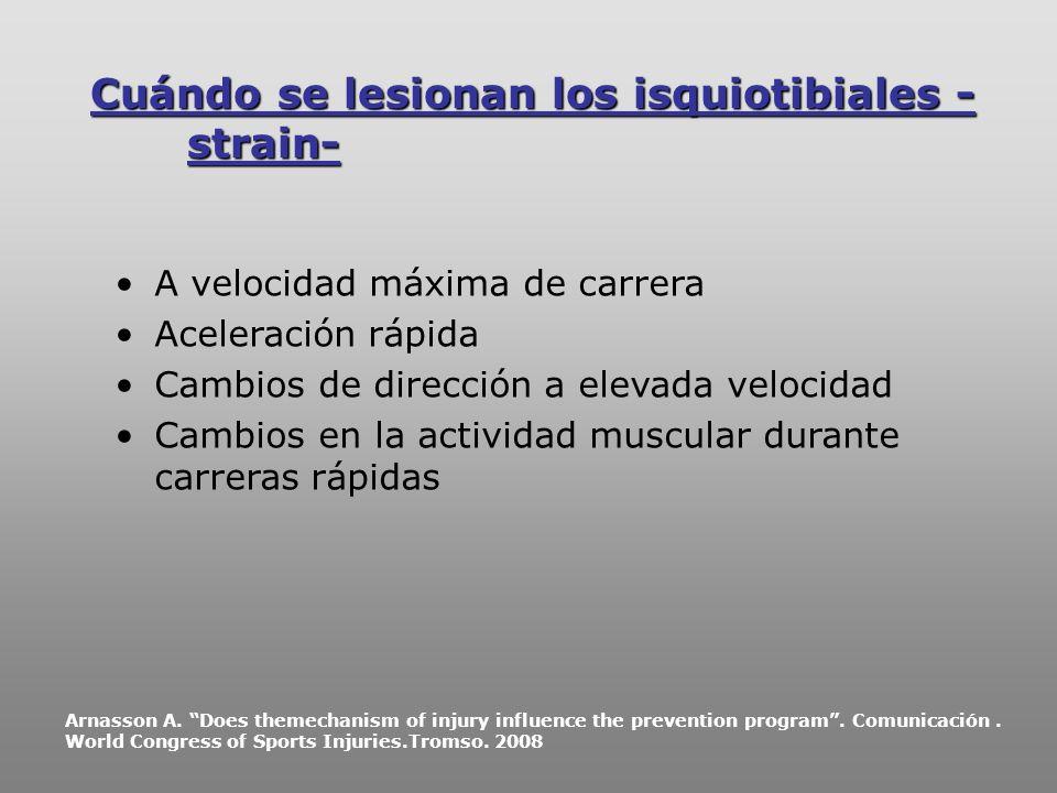 Cuándo se lesionan los isquiotibiales -strain-