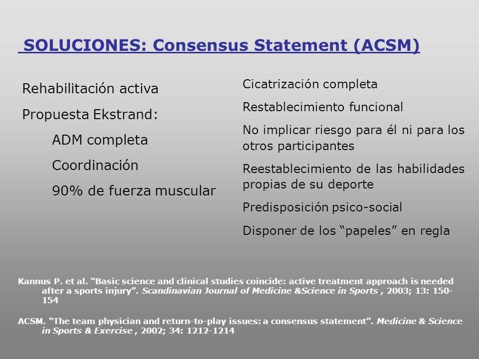 SOLUCIONES: Consensus Statement (ACSM)