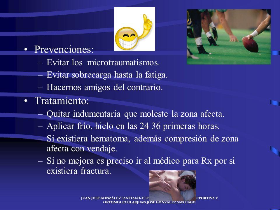 Prevenciones: Tratamiento: Evitar los microtraumatismos.