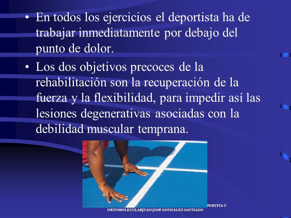 En todos los ejercicios el deportista ha de trabajar inmediatamente por debajo del punto de dolor.
