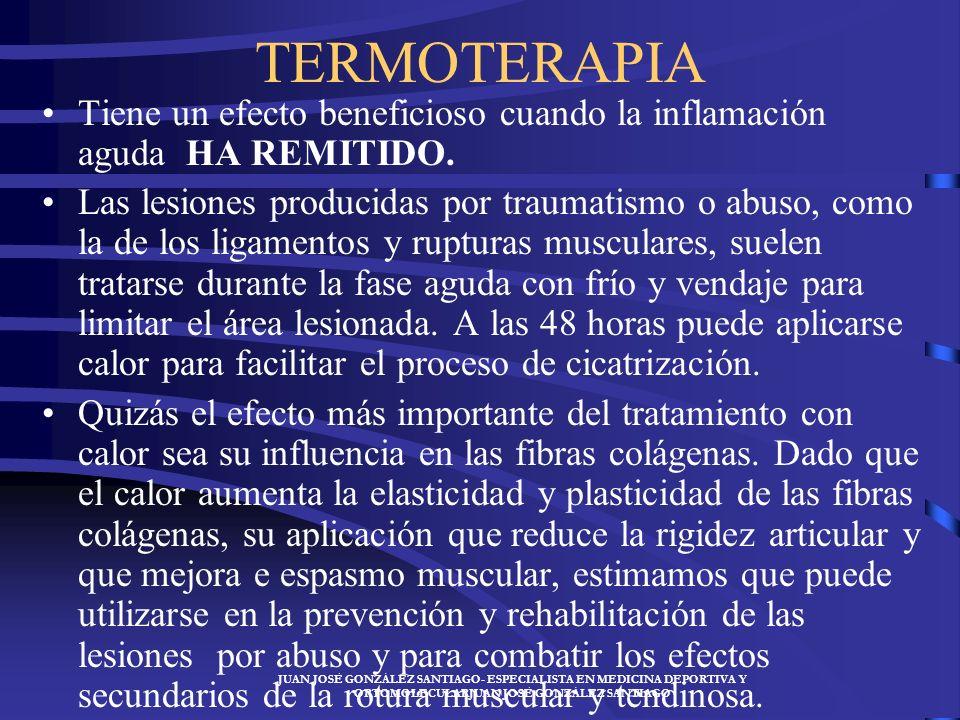 TERMOTERAPIA Tiene un efecto beneficioso cuando la inflamación aguda HA REMITIDO.