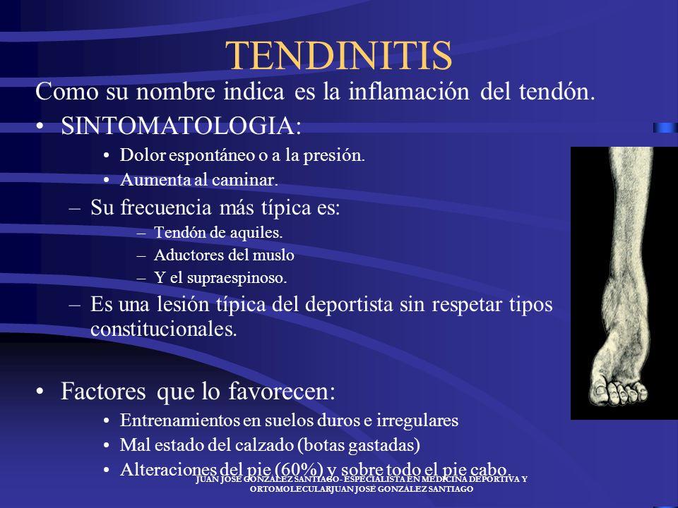TENDINITIS Como su nombre indica es la inflamación del tendón.