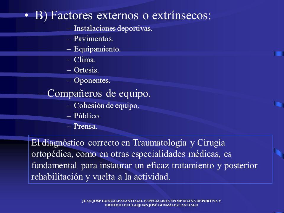 B) Factores externos o extrínsecos: