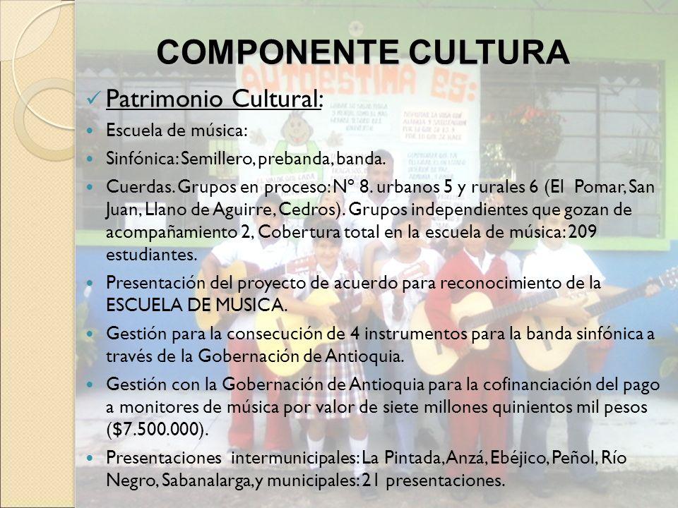 COMPONENTE CULTURA Patrimonio Cultural: Escuela de música: