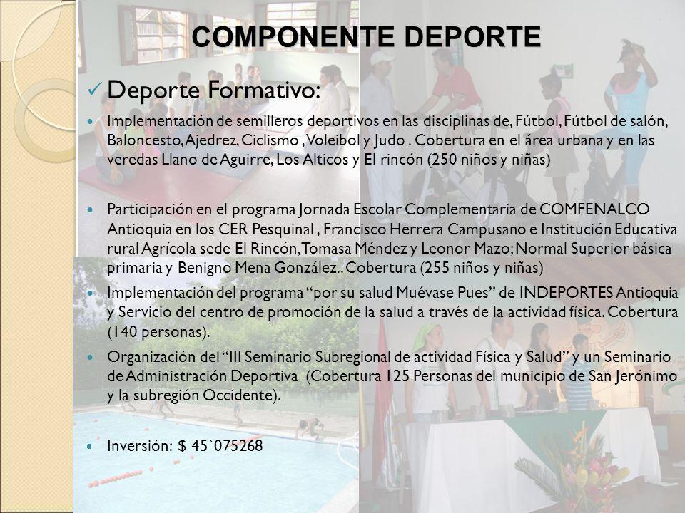 COMPONENTE DEPORTE Deporte Formativo: