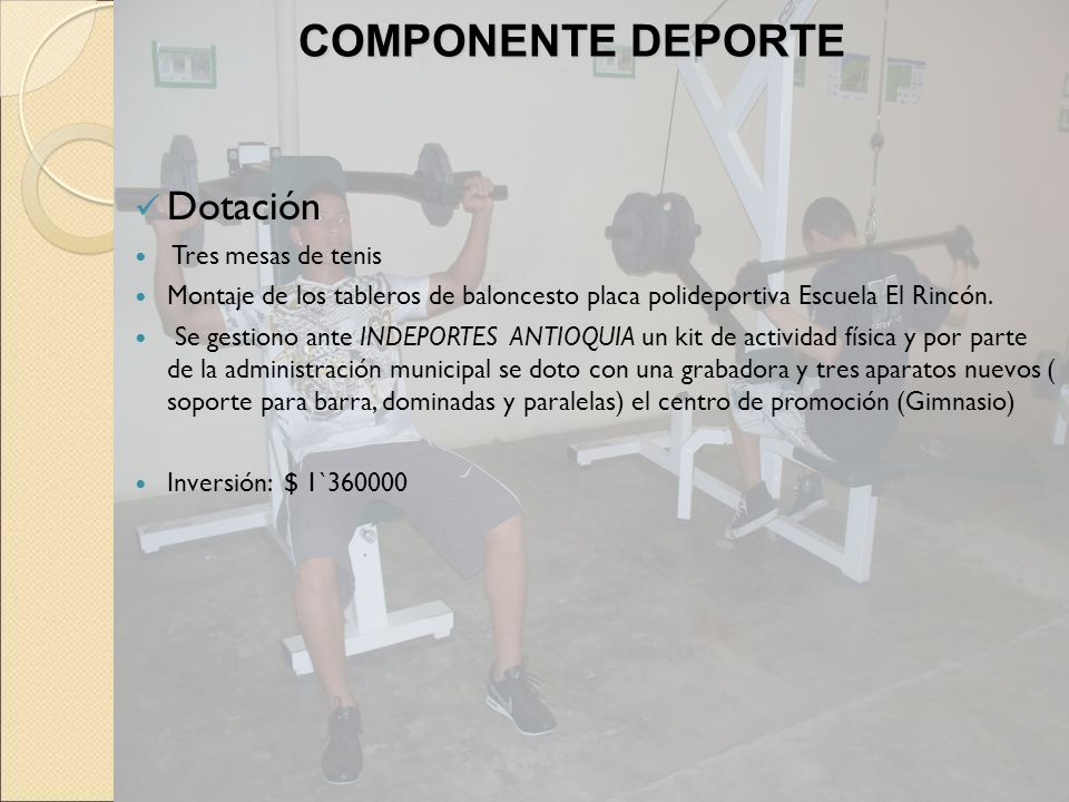 COMPONENTE DEPORTE Dotación Tres mesas de tenis