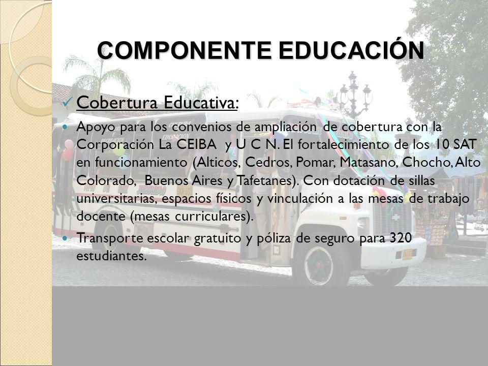 COMPONENTE EDUCACIÓN Cobertura Educativa: