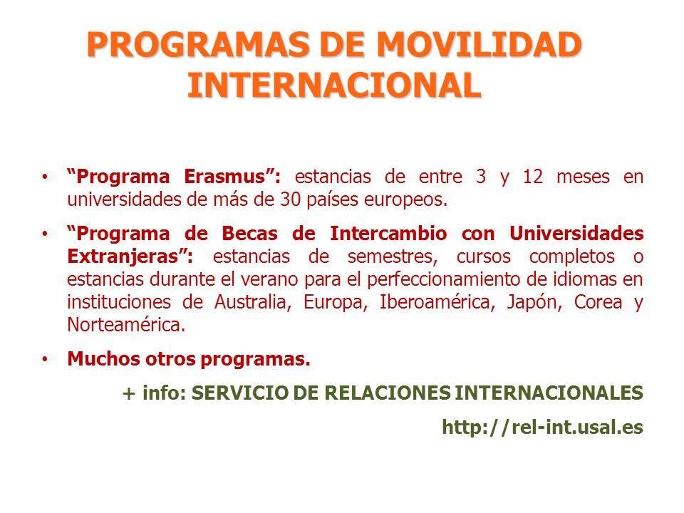 PROGRAMAS DE MOVILIDAD INTERNACIONAL