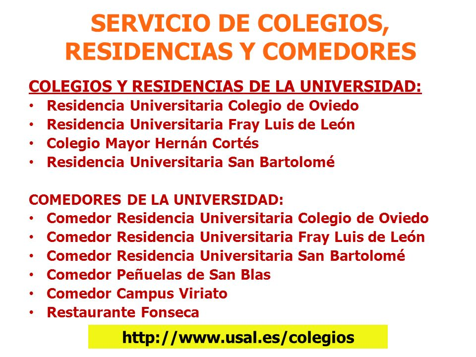 SERVICIO DE COLEGIOS, RESIDENCIAS Y COMEDORES
