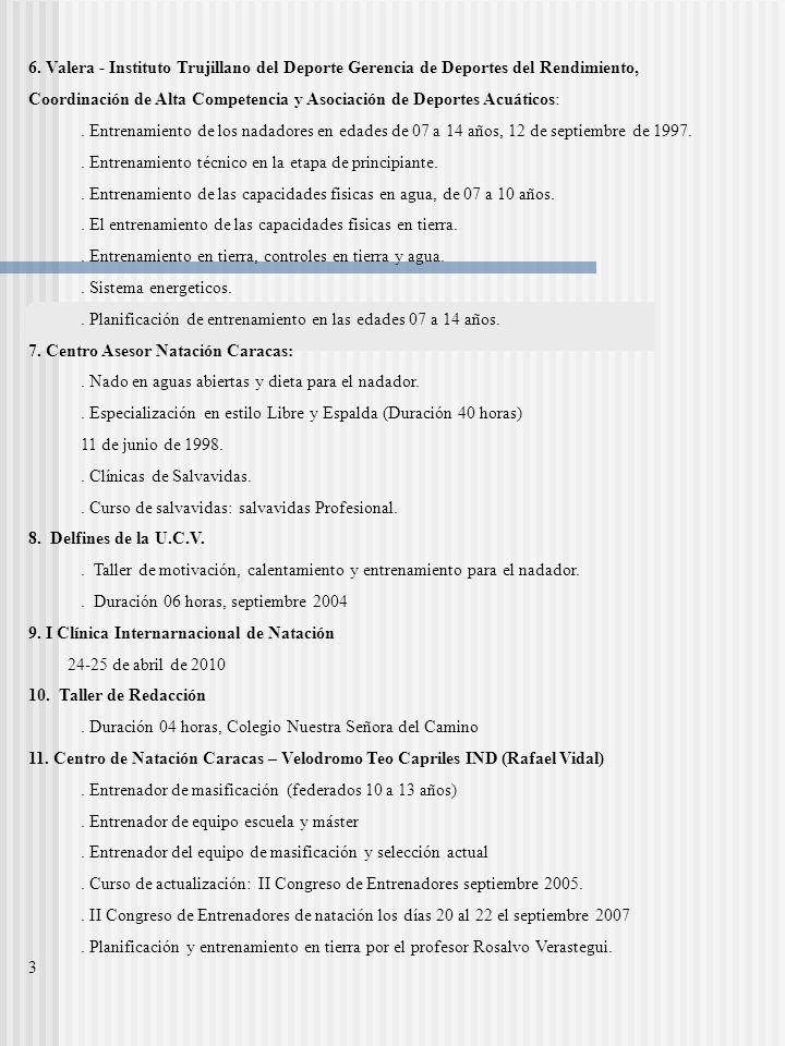 6. Valera - Instituto Trujillano del Deporte Gerencia de Deportes del Rendimiento,