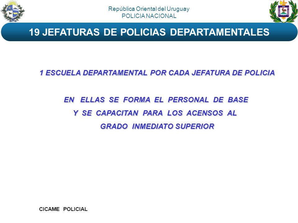 19 JEFATURAS DE POLICIAS DEPARTAMENTALES