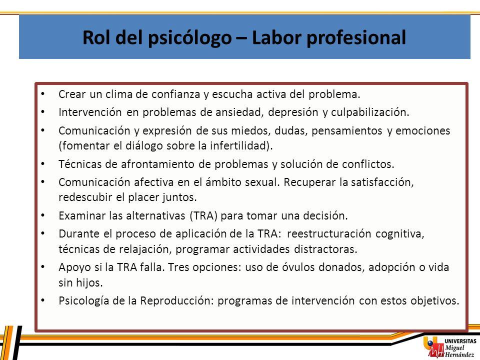 Rol del psicólogo – Labor profesional