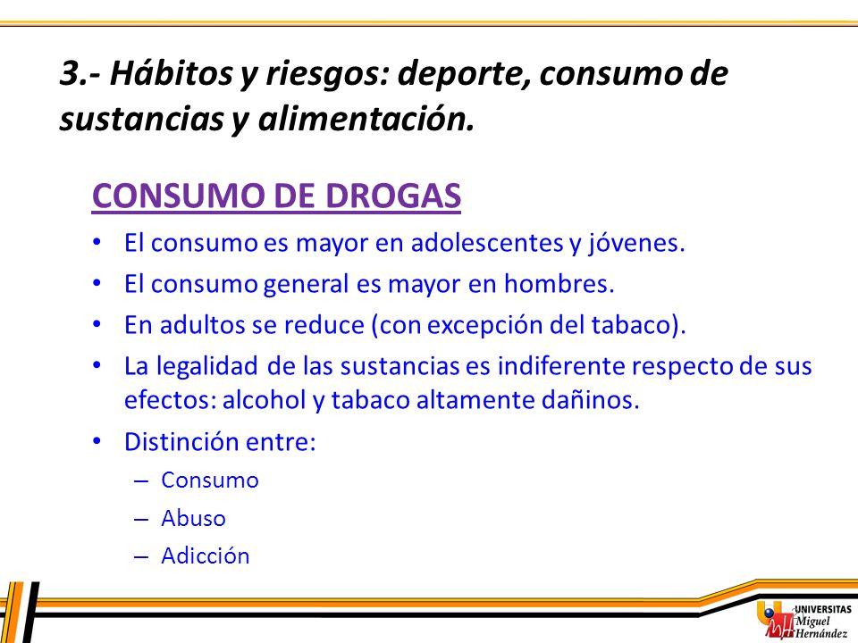 3.- Hábitos y riesgos: deporte, consumo de sustancias y alimentación.