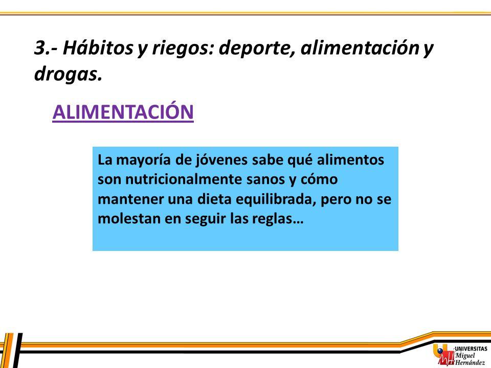 3.- Hábitos y riegos: deporte, alimentación y drogas.