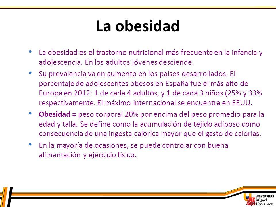 La obesidad La obesidad es el trastorno nutricional más frecuente en la infancia y adolescencia. En los adultos jóvenes desciende.