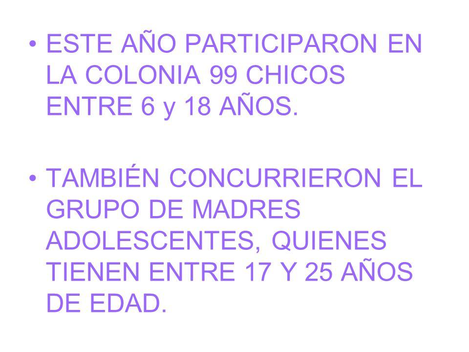 ESTE AÑO PARTICIPARON EN LA COLONIA 99 CHICOS ENTRE 6 y 18 AÑOS.