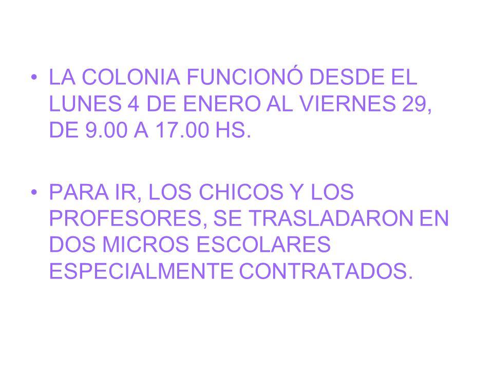 LA COLONIA FUNCIONÓ DESDE EL LUNES 4 DE ENERO AL VIERNES 29, DE 9