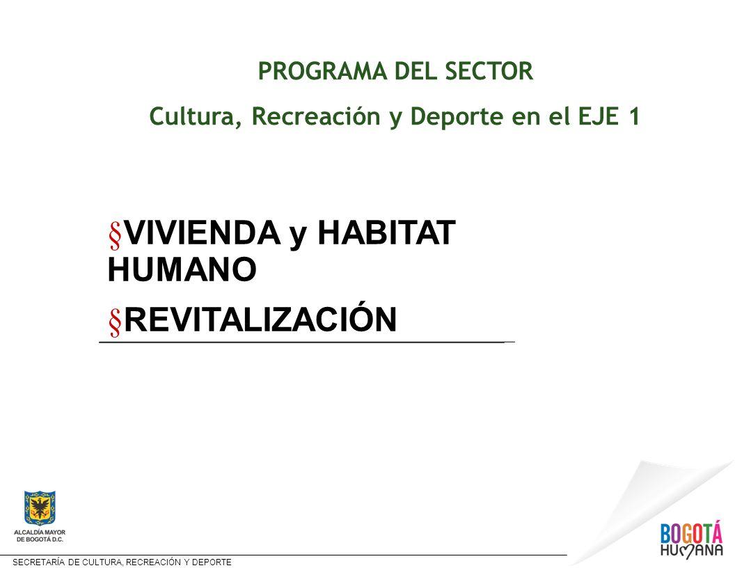 Cultura, Recreación y Deporte en el EJE 1