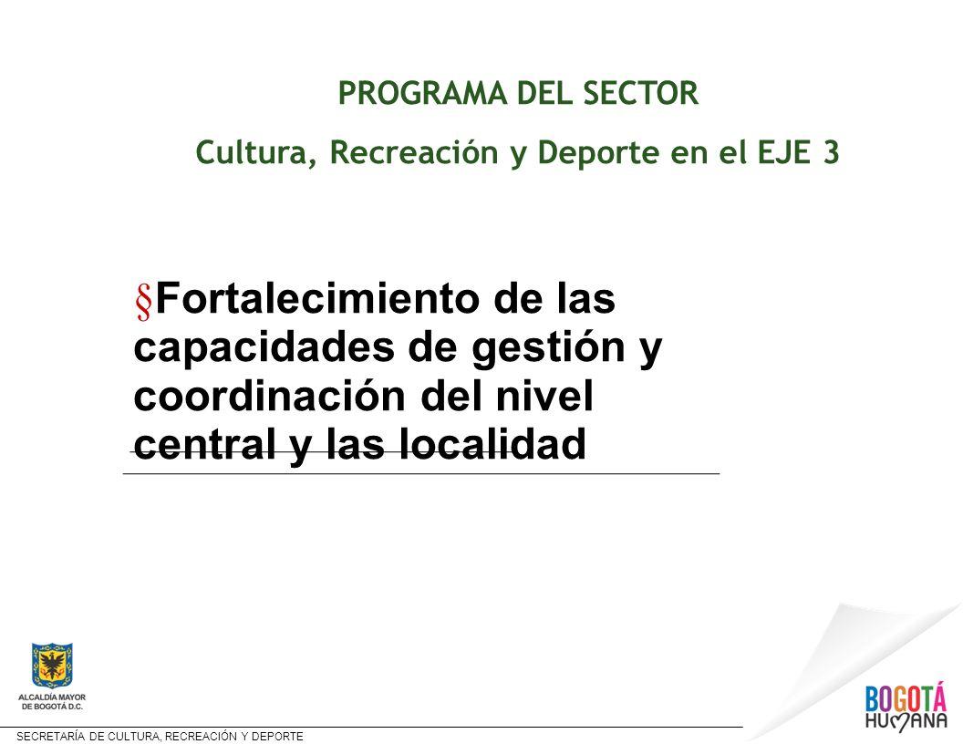 Cultura, Recreación y Deporte en el EJE 3