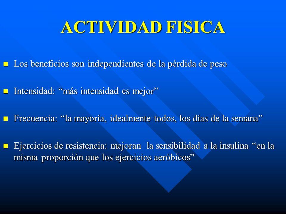 ACTIVIDAD FISICA Los beneficios son independientes de la pérdida de peso. Intensidad: más intensidad es mejor